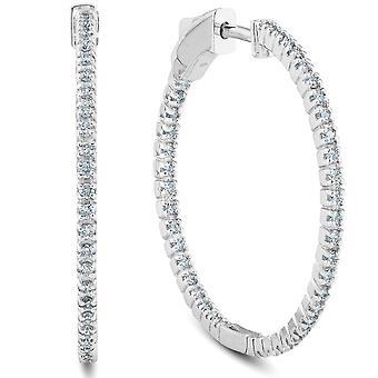 """.63ct diamant inuti utsidan hoops kvinnor örhängen 14K vitguld 1,25 """"tall"""
