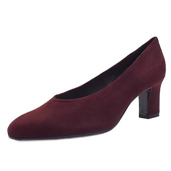 Peter Kaiser Mahirella Classic Mid Heel Court Shoes In Cabernet Suede