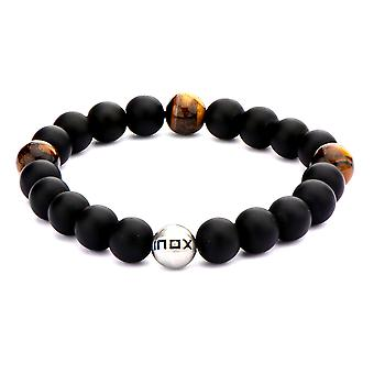 Men's stainless steel bracelet with onyx beads and tiger eye wood