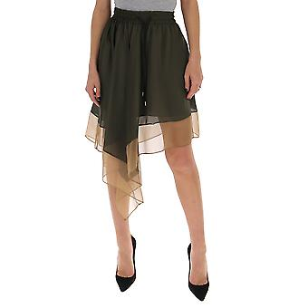 Sacai 2005025663 Women's Green Cotton Skirt