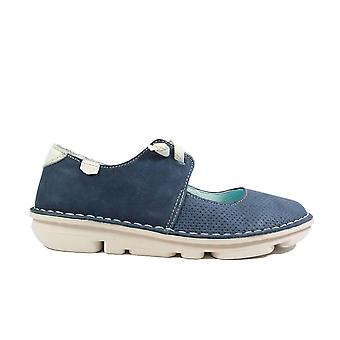 On Foot Francesita Elasticos 30100 Navy Nubuck Leather Womens Mary Jane Slip On Shoes