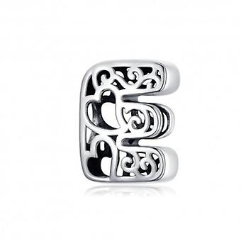 Sterling Silver Alphabet Charm With Hearts Letter E - 6259
