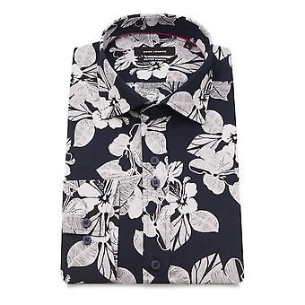 Guide London Floral Print Navy Pure Cotton Long Sleeve Men's Shirt