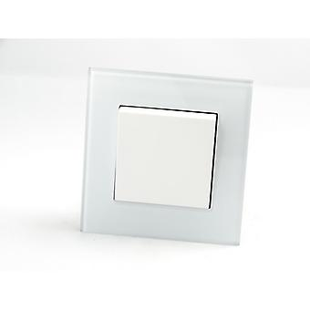 I LumoS AS Luxury White Crystal Glass Single Frame 1 Gang 2 Way Rocker Light Switches