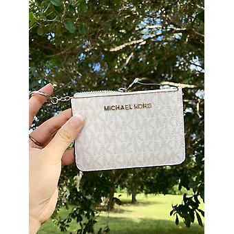 Michael kors jet set travel small top zip coin pouch id holder white gray