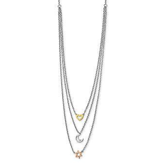 925 Sterling Silber Rhodium Platte Gold und Rose Ton Sonne himmlischen Mond Stern Halskette 16 Zoll Schmuck Geschenke für Frauen