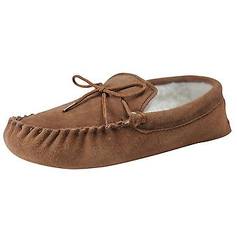 Nordvek Mens Genuine Suede Wool Lined Moccasin Slippers Suede Sole 423-100