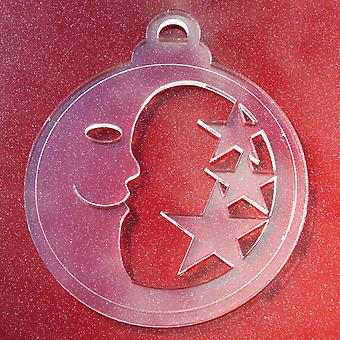 6 PK Moon and Stars Clear Acrylic Christmas Decorations