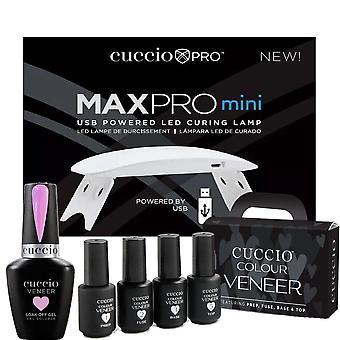 Cuccio Colour Veneer Professional - Kit di CuraTura Polacca Di Gel Arcobaleno - Sorbetto di lavanda 13ml, Lampada di cura USB e Kit di Trattamento Mini - Set 7