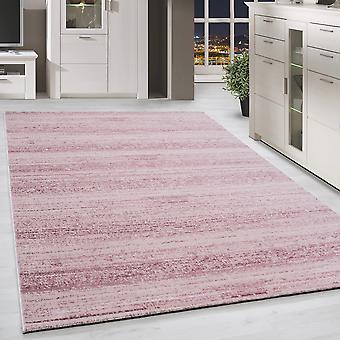 Shortflor Rug Solid Color Stripe Pattern Pink White Melted Living Room Rug
