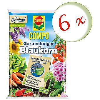 Sparset: 6 x COMPO Garden fertilizer Blue grain® NovaTec®, 7.5 kg