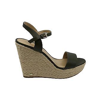 Michael Michael Kors Womens jill wedge Leather Open Toe Casual Platform Sandals