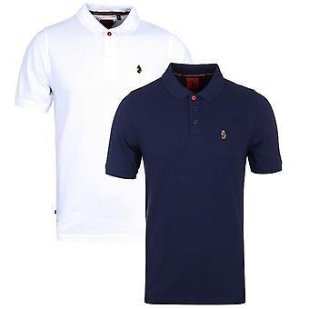Luke 1977 Two-Pack Williams White & Navy Pique Polo Shirt