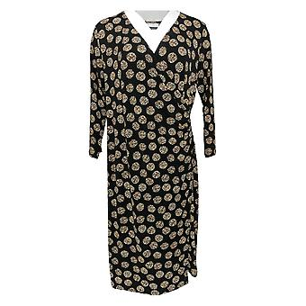 Susan Graver Robe Wrap Style w / V Encolure Noir A369158