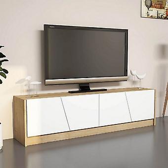 Mobile Porta TV Oro Color Rovere, Bianco in Truciolare Melaminico, PVC 150x30x40 cm