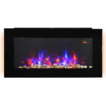 HOMCOM 1000W/2000W LED Electric Fireplace w/ Automatic Function Remote Faux Flame Wall Home Heater Backlight Timer Sleek Stylish