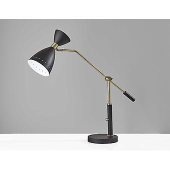 Lámpara de escritorio ajustable de metal negro de latón Cinch