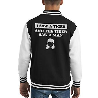 I Saw A Tiger King Joe Exotic Lyric Kid's Varsity Jacket