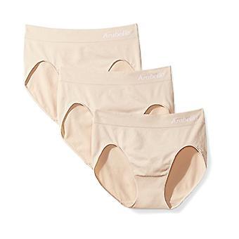 Brand - Arabella Women's Seamless Hi Cut Brief Panty, 3 Pack,Sunbeige,...