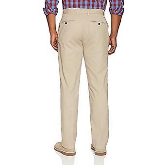 Essentials Men's Classic-Fit Wrinkle-Resistant Flat-Front Chino Pant, Kaki, 32W x 33L