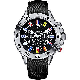 N16553G, Nautica Nst Chrono Bandera Relojes para Hombres -Negro