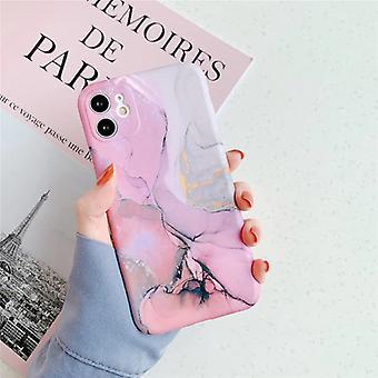 モスカドiPhone 11ケース大理石のテクスチャ - 耐衝撃光沢のあるケース花崗岩カバーキャスTPU
