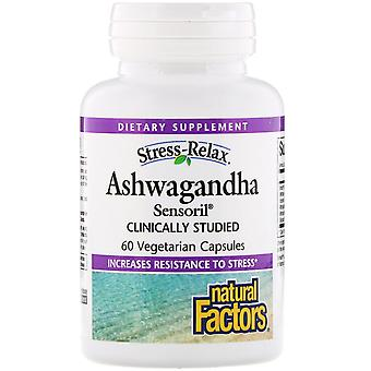 Naturliga faktorer, Stress-Relax, Ashwagandha, Sensoril, 60 Vegetariska kapslar