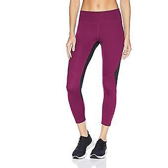 "Brand - Core 10 Women's Standard Race Day Colorblock Run 7/8 Crop Legging-24"", plum/black, Medium"