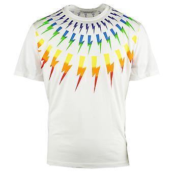Neil Barrett Multicolour Lightning Bolt White Oversize Tee