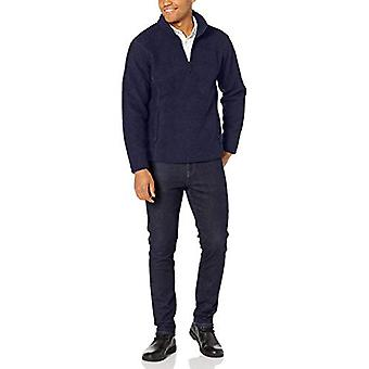 Essentials Menn's Sherpa Fleece Quarter-Zip Genser, Navy, Medium