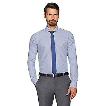 BUTTONED DOWN Men's Slim Fit Cutaway-Collar Non-Iron Dress Shirt, Navy Small ...
