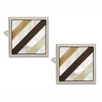 Mother of Pearl & Onyx Square Diagonal Striped Cufflinks