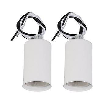 2 Pcs 6.08x3.1x3.1cm E14 Lamp Socket Holder White