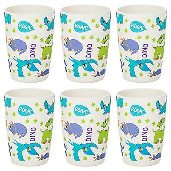 Tiny Dining Children's Bamboo Fibre Juice Cup - Dinosaur - Pack de 6