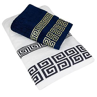 Towel set in Classic Design - White and Blue