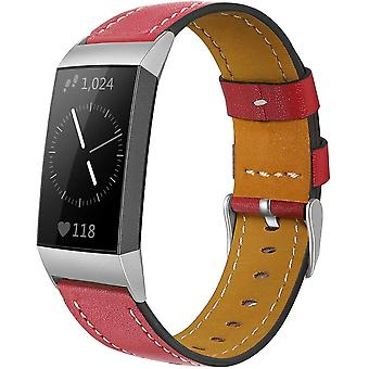 for Fitbit Charge 4 & Charge 3 Band Luxury Genuine Leather Replacement Wristband[Red]
