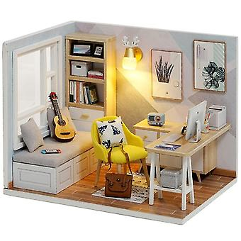 Wooden Doll Houses, Miniature Dollhouse Furniture Kit With Led -toys