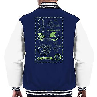 Casper The Friendly Ghost Pop Zop Slam Stamp Men's Varsity Jacket