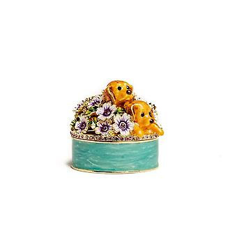Cute Puppies And Flowers Trinket Box