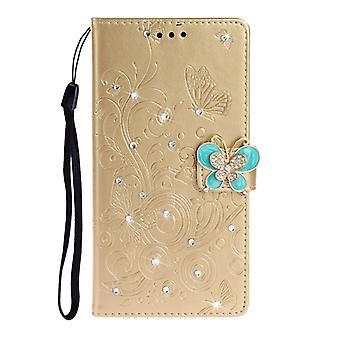 För Nokia 7.2 Diamant täckt fjärilar älskar blommor mönster horisontellt Flip läderfodral med hållare & Kortplatser & Plånbok& Snodd(Gyllene)