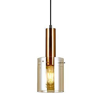Italux Sardo - Pendentif suspendu moderne Laiton 1 Lumière à l'ombre ambre, E27