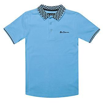 Boy's Ben Sherman Junior Checkerboard Krave Polo Shirt i blå