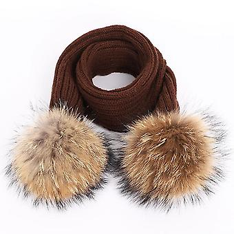 Cute's Raccoon Fur Pom Poms Knit Beanie Hat, Scarf /girl Winter Thicken Hedging
