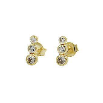 Øreringe med 3 Zirconias 9k Guld