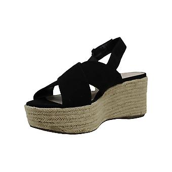 Bar III Womens bianka Fabric Open Toe Ankle Strap Wedge Pumps
