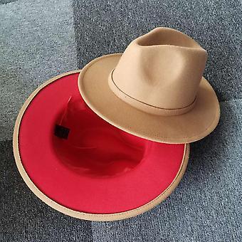 New Unisex Camel Patchwork Felt Jazz Hat Cap Men Women Flat Brim Wool Blend