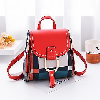 Multiple Using Women Grid Backpacks / Female School Bag Travel Bag Purse