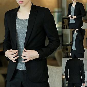 Men Blazer Coat Slim Suit Korean Style Casual Business Jackets