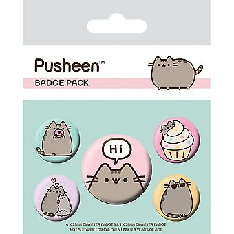 Pusheen sanoo hi badge set (pakkaus 5)