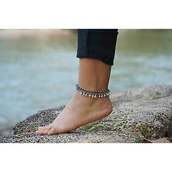 Turquoise Silver Bell Boho Anklet